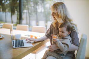 toddler Grandchild talking with grandparent virtually